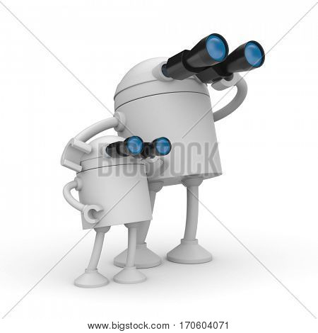Robot looks in binocular. Maybe it's a father and son. 3d illustration