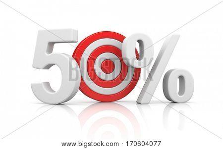Target form the number 50 percent. Sale metaphors. 3d illustration