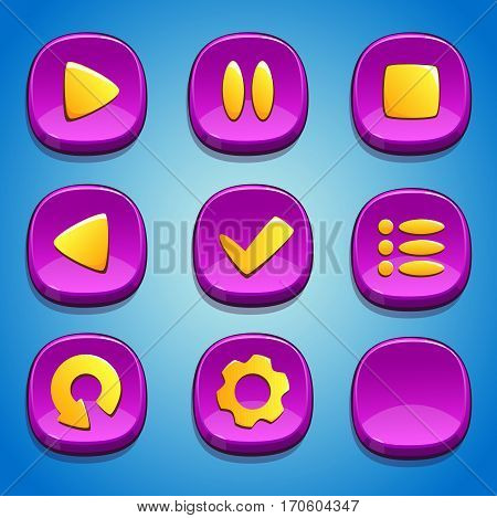 Pink buttons set for GUI. UI elements