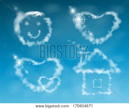 House, Smile, Cloud Heart. Illustration. Against The Sky