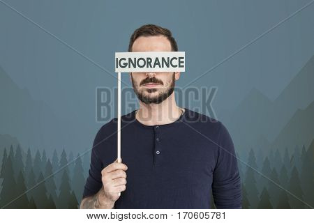 Man holding illustration blindness eyes