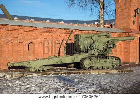 SAINT PETERSBURG, RUSSIA - JANUARY 20, 2017: Heavy 203-mm howitzer B-4 sample 1931 at the entrance to the Artillery Museum, sunny January day