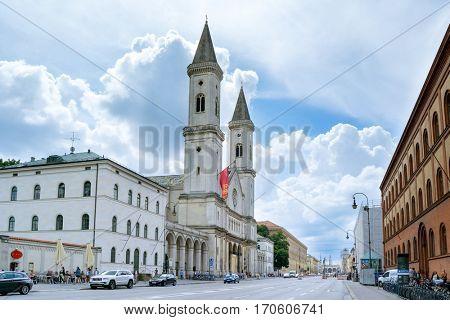 Munich, Germany - August 6, 2016: The Catholic Parish and University Church St. Louis, called Ludwigskirche
