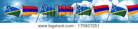 Solomon islands flag with Armenia flag, 3D rendering