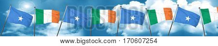 Somalia flag with Ireland flag, 3D rendering