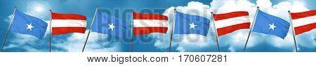 Somalia flag with Austria flag, 3D rendering