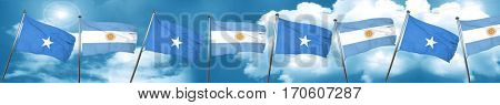 Somalia flag with Argentine flag, 3D rendering