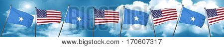 Somalia flag with American flag, 3D rendering