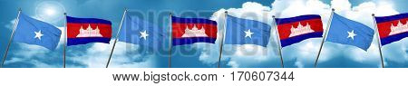 Somalia flag with Cambodia flag, 3D rendering