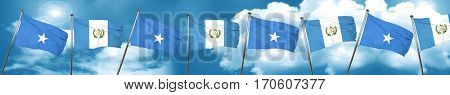 Somalia flag with Guatemala flag, 3D rendering