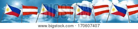 Philippines flag with Austria flag, 3D rendering