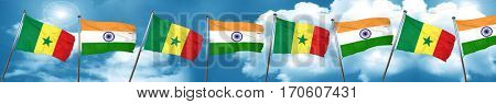 Senegal flag with India flag, 3D rendering