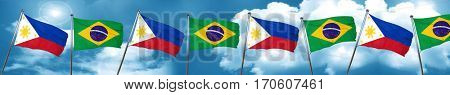 Philippines flag with Brazil flag, 3D rendering
