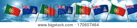 Portugal flag with Cayman islands flag, 3D rendering