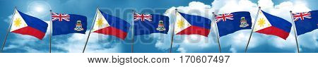 Philippines flag with Cayman islands flag, 3D rendering