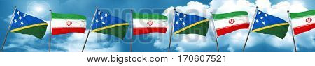 Solomon islands flag with Iran flag, 3D rendering