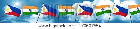 Philippines flag with India flag, 3D rendering