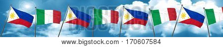 Philippines flag with Italy flag, 3D rendering