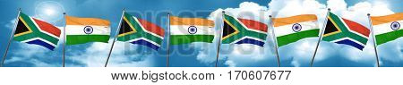 South africa flag with India flag, 3D rendering