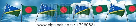 Solomon islands flag with Bangladesh flag, 3D rendering