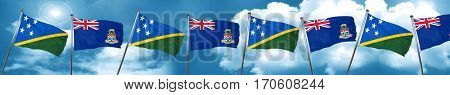 Solomon islands flag with Cayman islands flag, 3D rendering