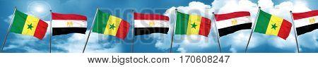 Senegal flag with egypt flag, 3D rendering