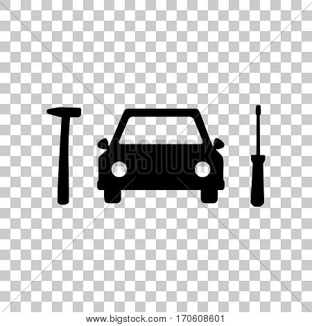 Car tire repair service sign. Black icon on transparent background.