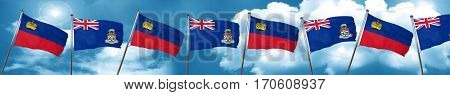 Liechtenstein flag with Cayman islands flag, 3D rendering