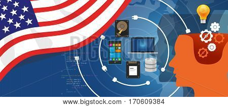 USA America IT information technology digital infrastructure connecting business data via internet network using computer software an electronic innovation vector