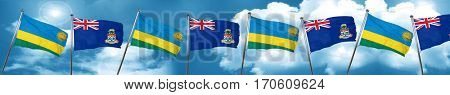 Rwanda flag with Cayman islands flag, 3D rendering