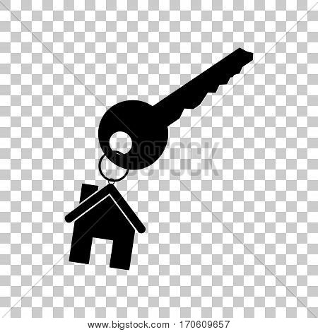 key with keychain as an house sign. Black icon on transparent background.