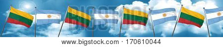 Lithuania flag with Argentine flag, 3D rendering