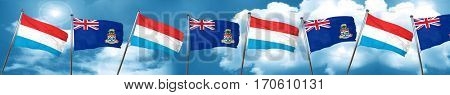 Luxembourg flag with Cayman islands flag, 3D rendering