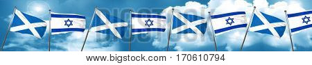scotland flag with Israel flag, 3D rendering