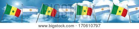 Senegal flag with Argentine flag, 3D rendering