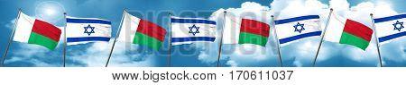 Madagascar flag with Israel flag, 3D rendering