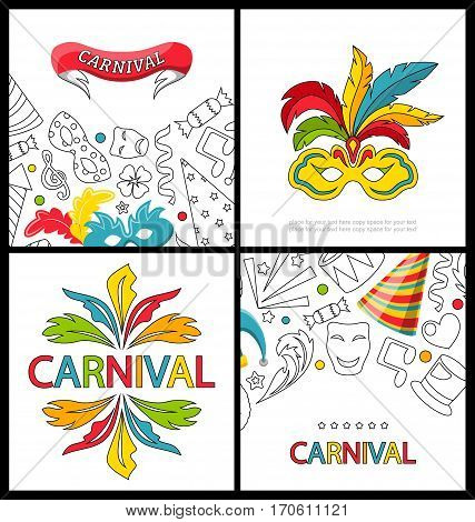 Illustration Set Celebration Festive Banners for Happy Carnival with Party Colorful Icons and Objects - Vector
