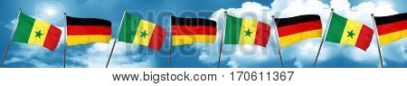 Senegal flag with Germany flag, 3D rendering