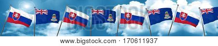 Slovakia flag with Cayman islands flag, 3D rendering