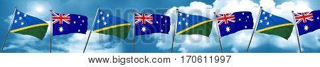 Solomon islands flag with Australia flag, 3D rendering