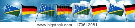 Solomon islands flag with Germany flag, 3D rendering