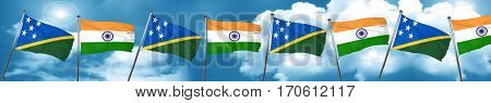Solomon islands flag with India flag, 3D rendering