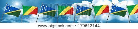 Solomon islands flag with congo flag, 3D rendering