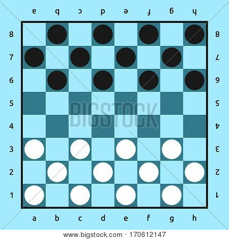 American checkers or Russian draughts game. White and black pieces set on blue 8x8 board. Top view. Flat design. Vector illustration. EPS 8 no transparency