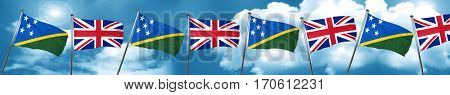 Solomon islands flag with Great Britain flag, 3D rendering
