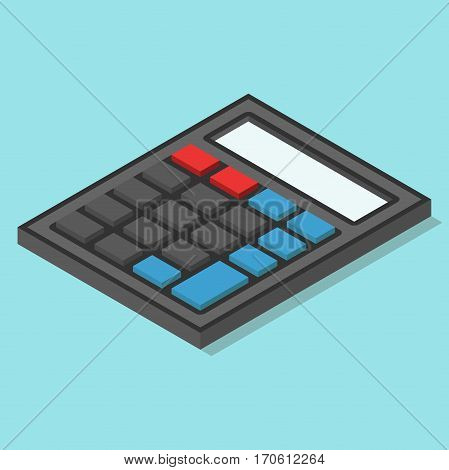 Isometric black calculator with color buttons without numbers on blue background. Calculation concept. Flat design. Vector illustration. EPS 8 no transparency