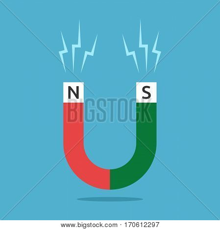 Red and green horseshoe shaped magnet with N and S letters and sparks on blue background. Magnetism science attraction and education concept. Flat design. Vector illustration. EPS 8 no transparency