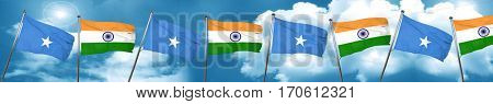 Somalia flag with India flag, 3D rendering