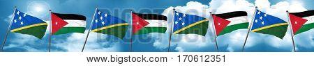 Solomon islands flag with Jordan flag, 3D rendering