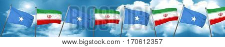 Somalia flag with Iran flag, 3D rendering